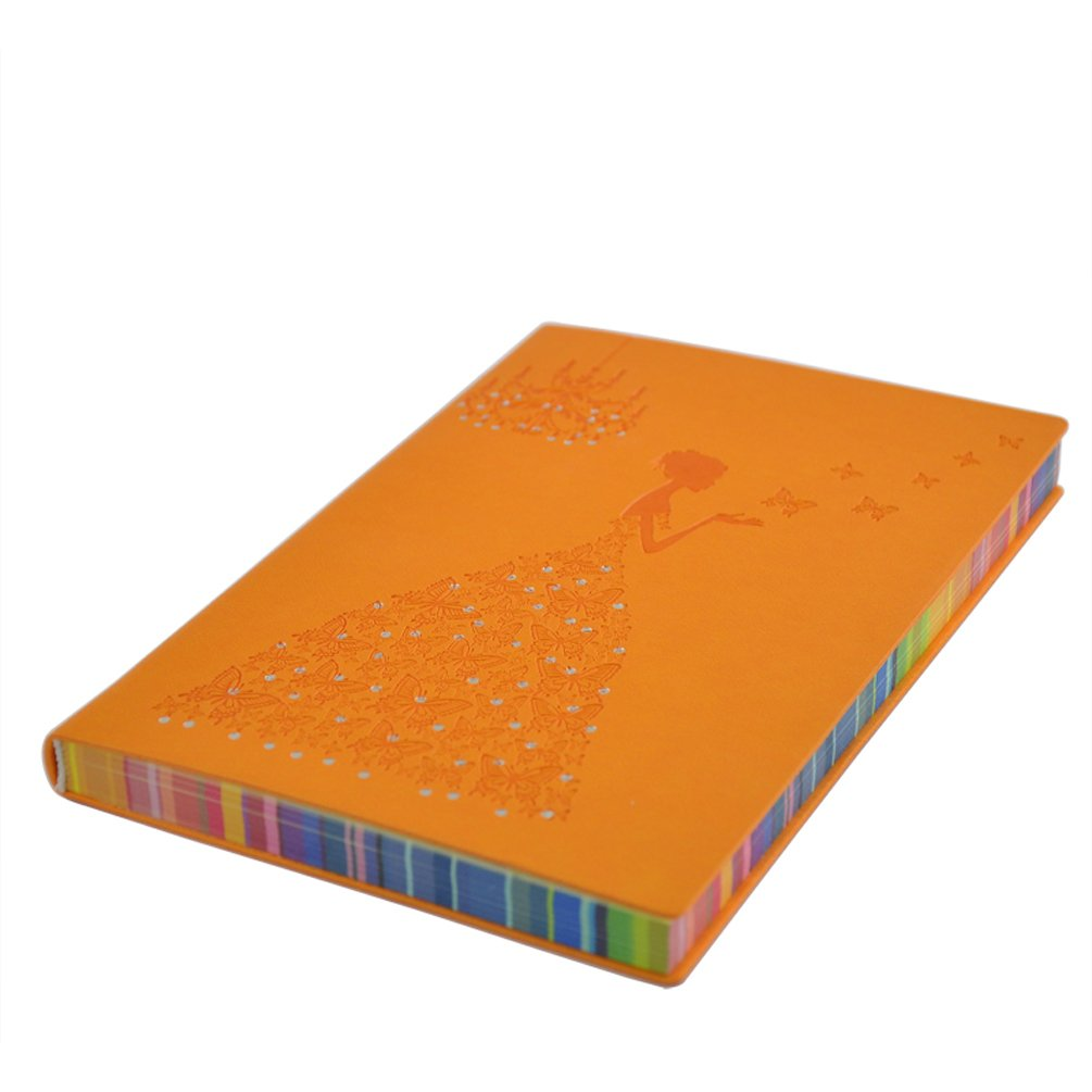 VIGOROSO Elegant Note Book Girls Notebook PU Leather Journal Writing Paper Butterfly Girl 200 Pages Colored Paper Edge (Orange)