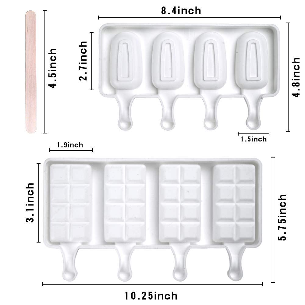 LOVEINUSA Ice Cream Mold Set, Square Cakesicle Mold Small Popsicle Molds 50 Wooden Sticks for DIY Ice Cream Cake Mousse Dessert