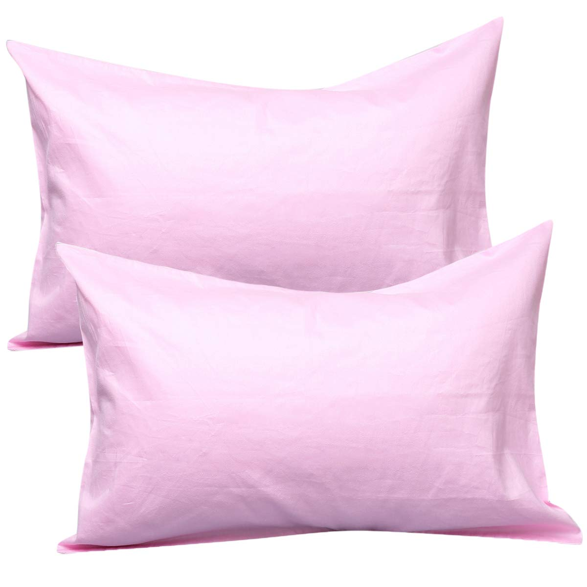 UOMNY Kid Pillowcases 2 Pack 100% Cotton Pillow Cover 14x20 Baby Pillow Cases for Sleeping Tiny Pillows case for Kids Solid Pillowcases Travel Pillowcases Pink Kids' Pillowcases