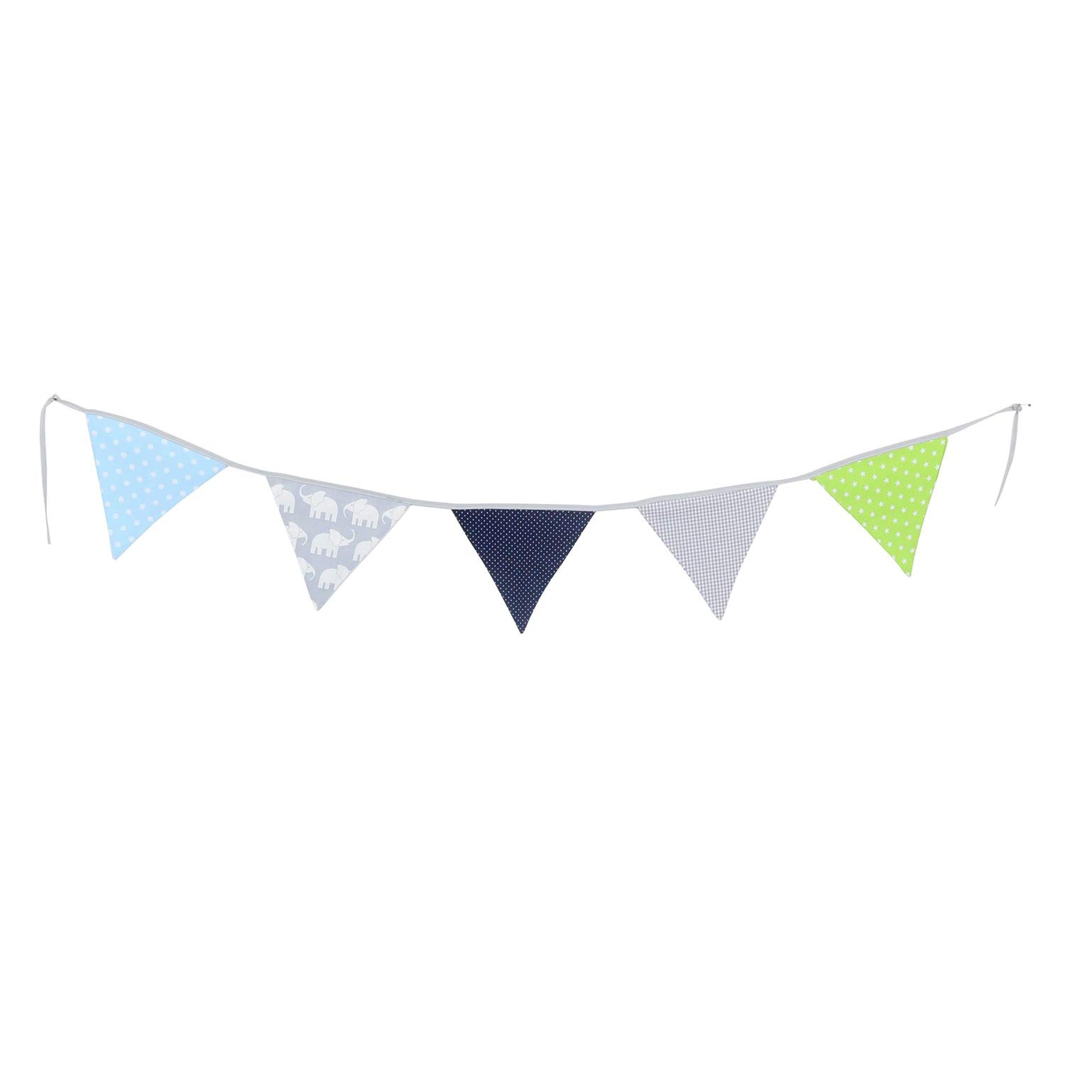 100% Cotton Fabric Bunting Flag Garland Pennant Banner by ULLENBOOM   Elephant/Star/Checkered   Baby Shower/Party/Nursery   6 Ft - Boys Blue and Green