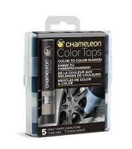 Chameleon Art Products, Gray Tones, Color Tops, Quick and Easy Blending - Set of 5