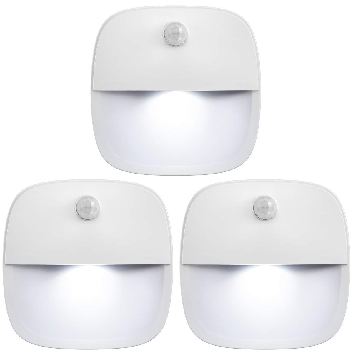 AMIR Upgraded Motion Sensor Light, Cordless Battery-Powered LED Night Light, Wall Light, Closet Lights, Safe Lights for Stairs, Hallway, Bathroom, Kitchen, Cabinet (White - Pack of 3)