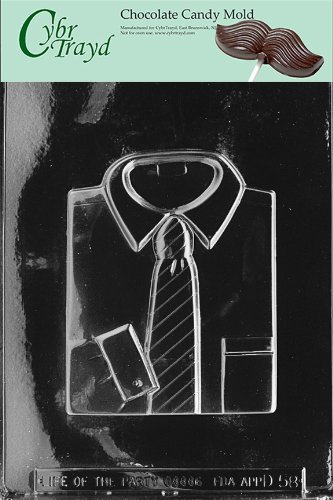 Cybrtrayd Life of the Party D058 Shirt with Tie Fathers Day Chocolate Candy Mold in Sealed Protective Poly Bag Imprinted with Copyrighted Cybrtrayd Molding Instructions