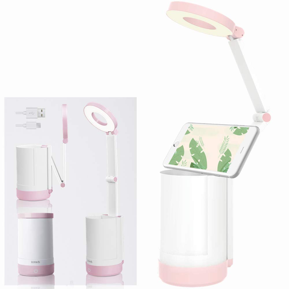 Gerintech Folding Desk Lamp with Pen Holder and Foldable Arm, Rechargeable Study Lamp for Dorm Room (Pink)