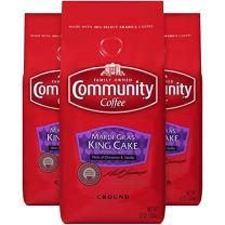 Community Coffee Premium Ground Coffee, Mardi Gras King Cake, 12 oz. (Pack of 3)