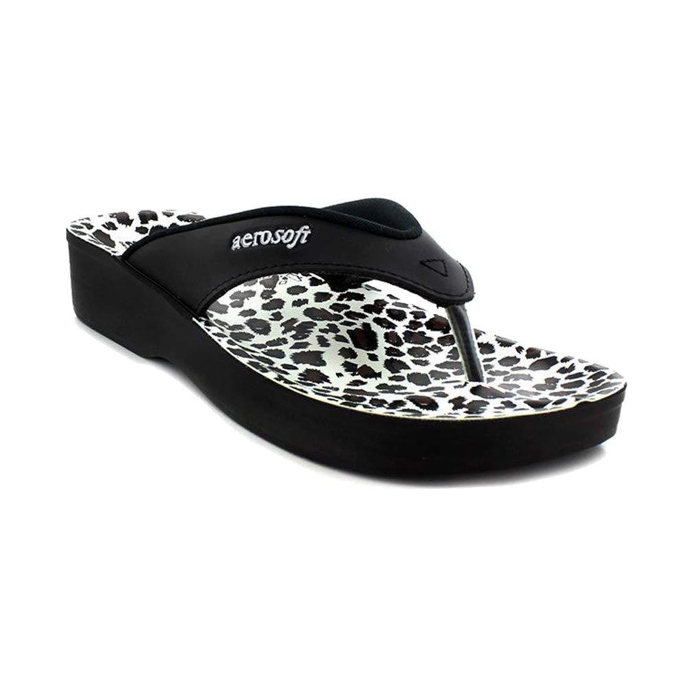Aerosoft Flip Flops for Women, Arch Supportive Slides, Lightweight Waterproof Leopard Thong Sandals
