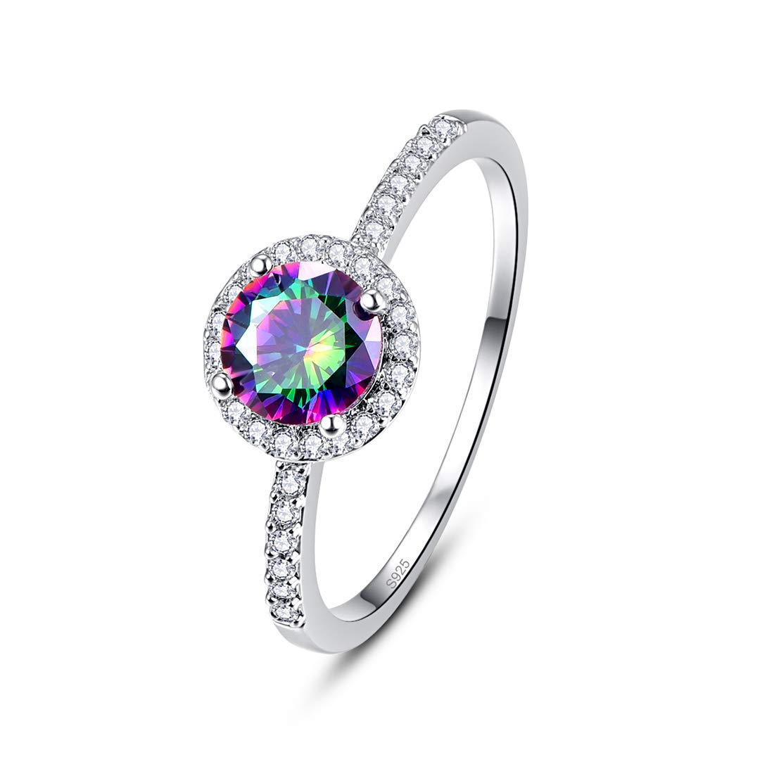 Momius 925 Silver Created Rainbow Topaz Brilliant Round Cut Halo Wedding Band Engagement Ring for Women