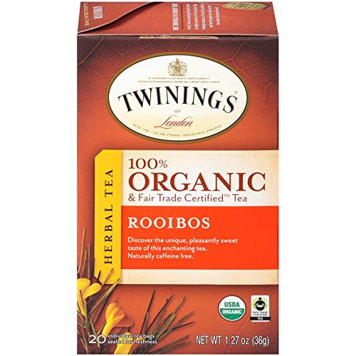 Twinings of London Organic and Fair Trade Certified Rooibos Herbal Tea Bags, 20 Count (Pack of 6)