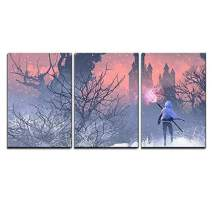 "wall26 - 3 Piece Canvas Wall Art - Illustration - Knight with Trident in Winter Landscape,Illustration Painting - Modern Home Decor Stretched and Framed Ready to Hang - 16""x24""x3 Panels"