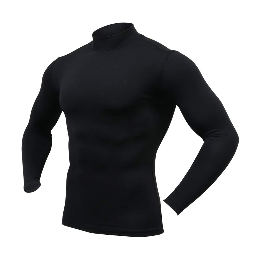 ARMEDES Mens Mock Neck Long-Sleeved T-Shirt Cool Dry Compression Baselayer