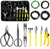 MOSFiATA Bonsai Tools Set 13 Pcs High Carbon Steel Succulent Gardening Trimming Tools Set Include Pruning Shears, Scissors, Mini Rake, Round and Pointed Shovel &Training Wire in PU Leather Bag