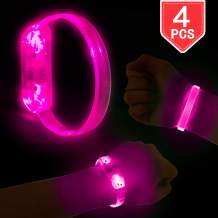 PROLOSO 4 Pack LED Light Up Bracelets Pink Wristbands for Concerts, Festivals, Sports, Parties, Night Events