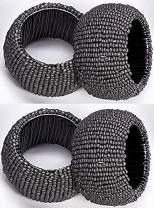Cotton Clinic Beaded Napkin Rings Set of 4, Napkin Rings Bulk, Hand Made Napkin Rings for Wedding - Gray