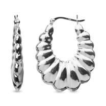 LeCalla Sterling Silver Jewelry Hollow Puff Hoop Earrings for Women