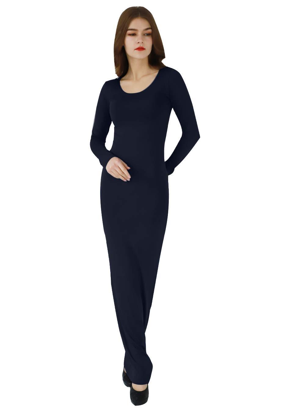 EFOFEI Womens Bodycon Slim Long Sleeve Causal Solid Club Maxi Long Dress