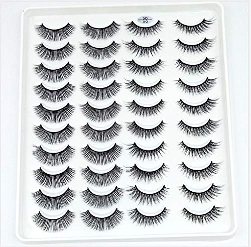 HBZGTLAD 20 Pairs 3D Soft Mink False Eyelashes Handmade Wispy Fluffy Long Mink Lashes Natural Eye Extension Makeup Kit Cilios (3D-XG)