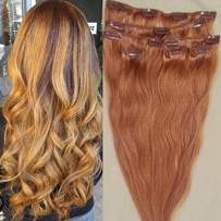 """Hair Faux You 18"""" Clip in Hair Extensions Real Human Hair 80g Clip on for Full Head 7 pieces, 14 clips, Silky Straight Weft Remy Hair Color #27 Strawberry Blonde"""