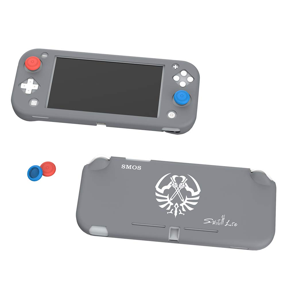 SMOS Silicone Case for Nintendo Switch Lite, Protective Cover Case Anti-Scratch and Non-Slip Rubber Case for Nintendo Switch Lite Console (Pigeon Gray(Plate Style))