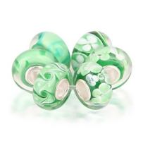 Light Green Flower Murano Glass Mix Of 6 Sterling Silver Spacer Bead Fits European Charm Bracelet For Women For Teen