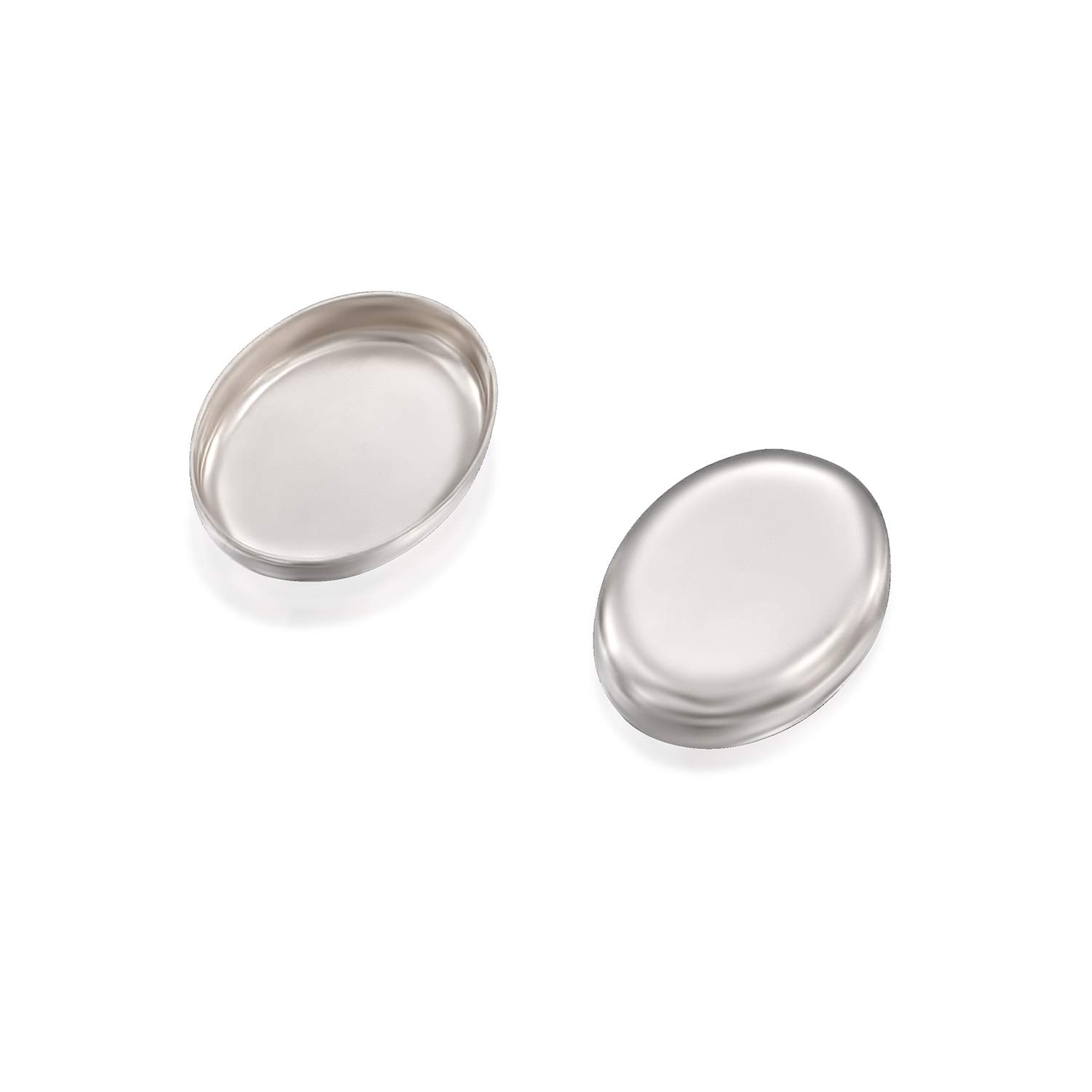 Stera Jewelry 6 Pcs Oval Setting 925 Sterling Silver 6 x 8 mm Bezel Cup Findings for Rings Pendants Charms Earrings