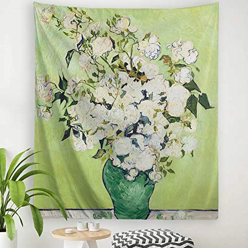 """Baccessor Vincent Van Gogh Tapestry Wall Hanging Rose Nature Plant Floral Classical Wall Art Rustic Wall Home Decor for Bedroom, Dorm College Living Room, Vertical, 60"""" L x 51"""" W, Rose"""