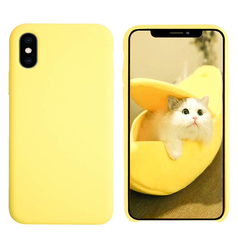VANYUST Liquid Silicone Gel Rubber Shockproof Case Soft Microfiber Cloth Lining Cushion Compatible with iPhone X/Xs (Yellow)
