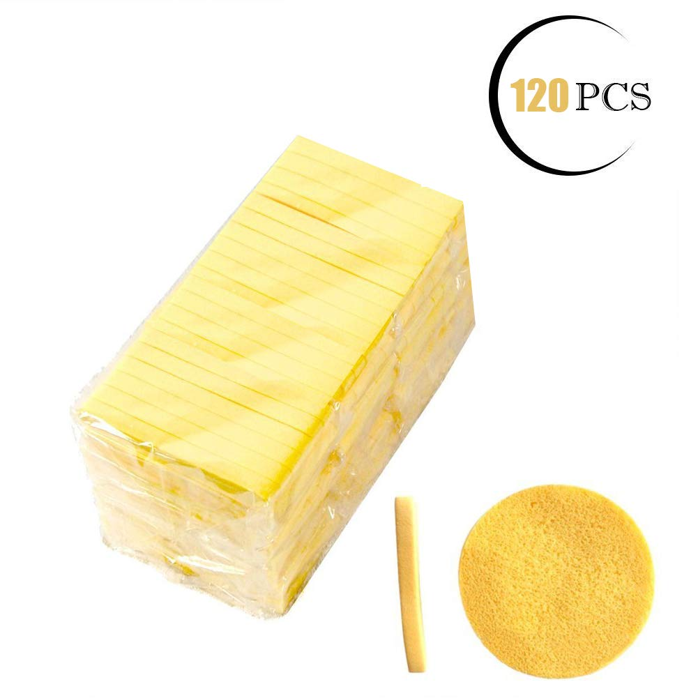 Facial Sponge Compressed,120 Count PVA Professional Makeup Removal Wash Round Face Sponge Pads Exfoliating Cleansing for Women,Yellow