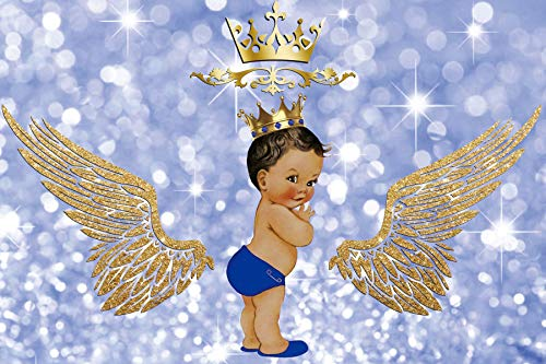 Baocicco 10x6.5ft Backdrop Boy's Birthday Party Royal Crown Golden Angel Wings Halo Glitters Blue Bokeh Photography Background Baby Shower for Boys Little Girl Prince Portrait Prop