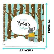Baby First Year Memory Book - Keep Your Baby's First Memories Safe and Close in This Unique Blue Hard Cover Photo Scrapbook - Perfect Way to Keepsake Your Family's Special Moments Miles