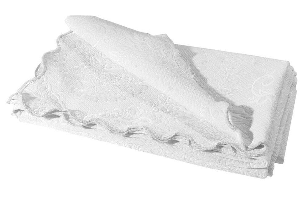 Europa Fine Linens English Rose Matelasse Coverlet,King,White