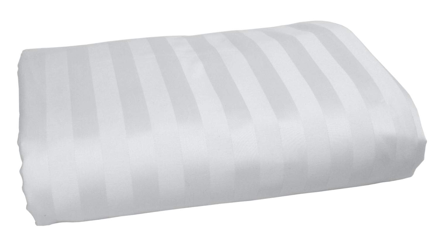 American Pillowcase 100% Long Staple Cotton Luxury Striped 540 Thread Count Flat Sheet - Queen, White