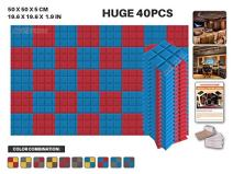 """Acepunch 40 Pack 2 Colors Baby Blue and RED Bevel Grid Acoustic Foam Panel DIY Design Studio Soundproofing Wall Tiles Sound Insulation with Free Mounting Tabs 19.6"""" x 19.6"""" x 1.9"""" AP1046"""