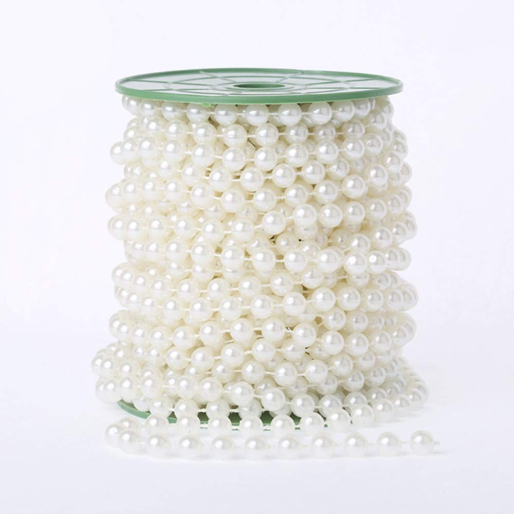 WEISIPU 6mm Pearl Bead Garland Spool Rope for Christmas Wedding DIY Decoration Supplies 20M=65ft (Ivory)