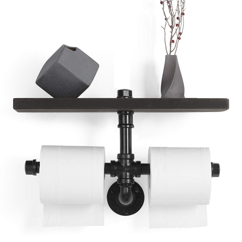 JS NOVA JUNS Industrial Toilet Paper Holders, Double Paper Tower Holder Wall Mount with Wood Shelf Storage for Bathroom, Washroom, Dual Toilet Roll Holder, Black Electroplated Pipe Holders