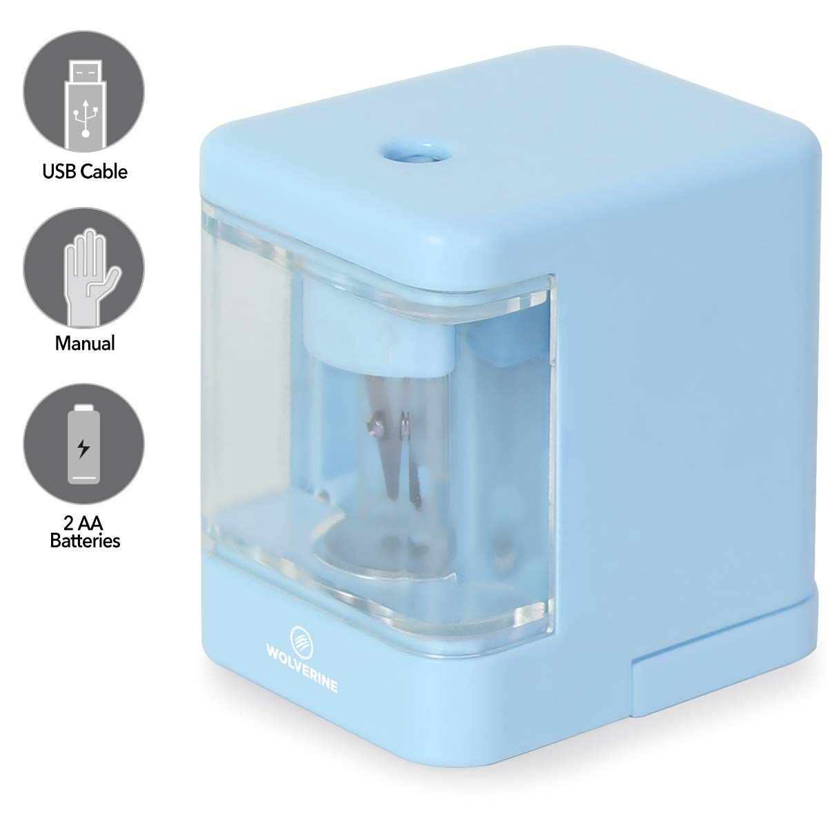 Electric Pencil Sharpener, Heavy-duty Helical Blade to Fast Sharpen (Blue)