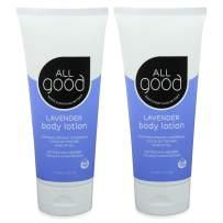 All Good Hand & Body Lotion w/Essential Oils - Moisturizing Organic Lotion w/Calendula, Cocoa Butter, Coconut & Rose Hip Oil - Non GMO - Vegan - 6 oz (Lavender)(2-Pack)