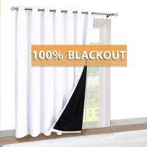 RYB HOME Sliding Door Curtains - Total Blackout 2 Layers with Black Liner Grommet Soundproof Curtain for Living Room Family Room Playroom Office Decor, 100 x 84 inches, Pure White, 1 Pc