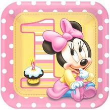 American Greetings 8 Count Minnie's 1st Birthday Square Dinner Plates, Pink