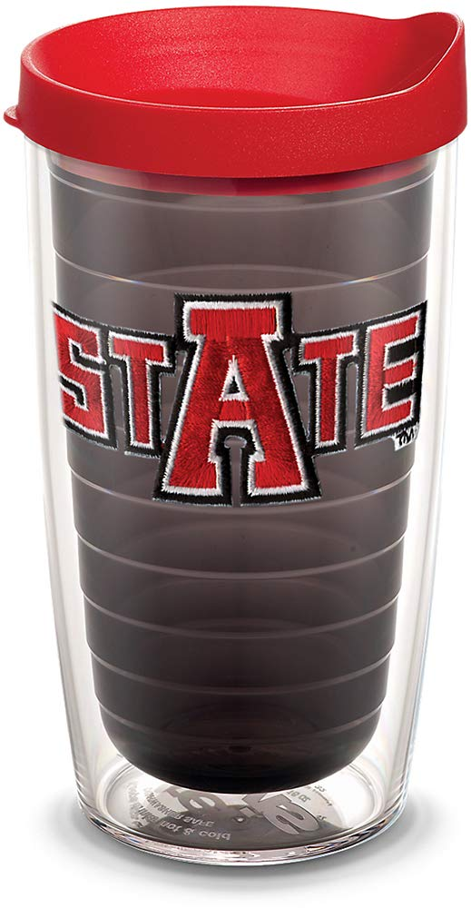 Tervis 1081809 Arkansas State Red Wolves Tumbler with Emblem and Red Lid 16oz, Quartz