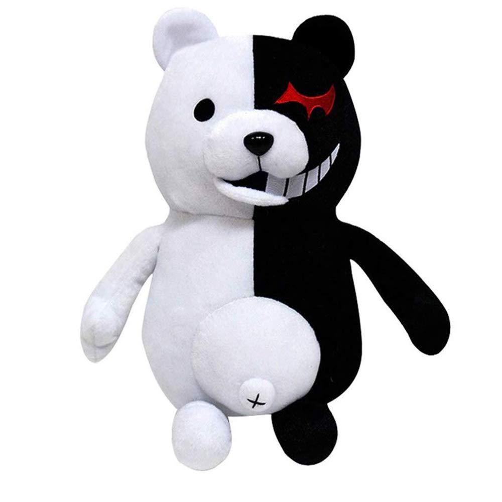 TIMSOPHIA Kids Black White Bear Plush Doll Monokuma Bear 36cm for Kids Birthday Child Pillow Toy Home Decor Adornment(36cm)