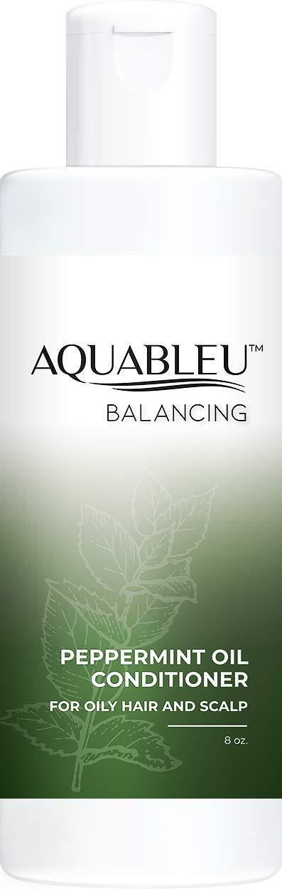 Aquableu Natural Peppermint Conditioner – Ultra Moisturizing & Oil Balancing - Argan & Jojoba Oil, Shea Butter - Sulfate & Paraben Free - For color treated hair- Men & Women 8oz