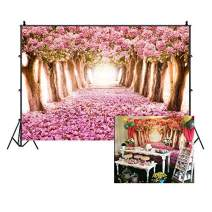 Baocicco Cherry Trees Blossoms Flower Petals Pink Dreamy Ground Backdrop 7x5ft Cotton Polyester Photography Background Fantasy Wonderland Sweet Girls Children Portraits Baby Shower Props