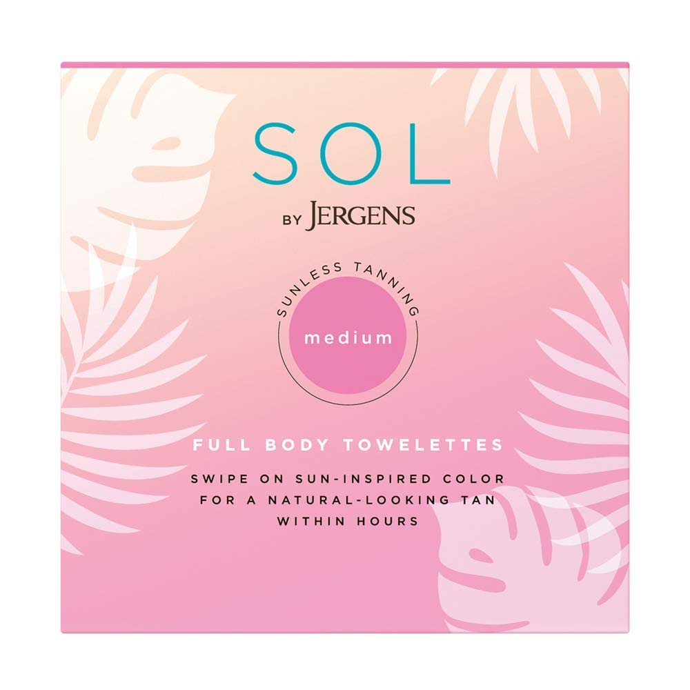 SOL by Jergens Full Body Self-Tanning Towelettes, All Skin Tones, 6 Count Streak-free Natural-Looking Self Tanning Wipes, Infused with Coconut Water and Vitamin E, Tan-infused Cloths for Sun-inspired