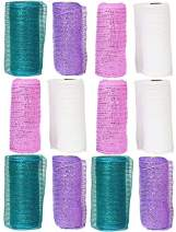 """Set of 12 Decorative Mesh Rolls! 4 Assorted Easter Themed Colors! - 6"""" Wide x 5 Yards Long! Great for Easter Wreath, Floral Arrangements, Easter Party Decorating! (12)"""