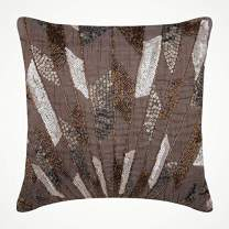 The HomeCentric Designer Brown Pillow Shams, Sequins & Beaded Sparkly Glitter Pillow Sham, 24x24 inch (60x60 cm) Pillow Sham, Square Silk Pillow Sham, Art Deco Pillow Shams - Glamorous Streaks