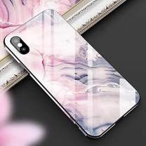 Cocomii Chamfered Edge Glass Marble iPhone Xs Max Case, Slim Thin Glossy Soft TPU Silicone Rubber Gel Tempered Glass Back 360° Flat Rim Bumper Cover for iPhone Xs Max 6.5 Inch 2018 (Dream Pink)