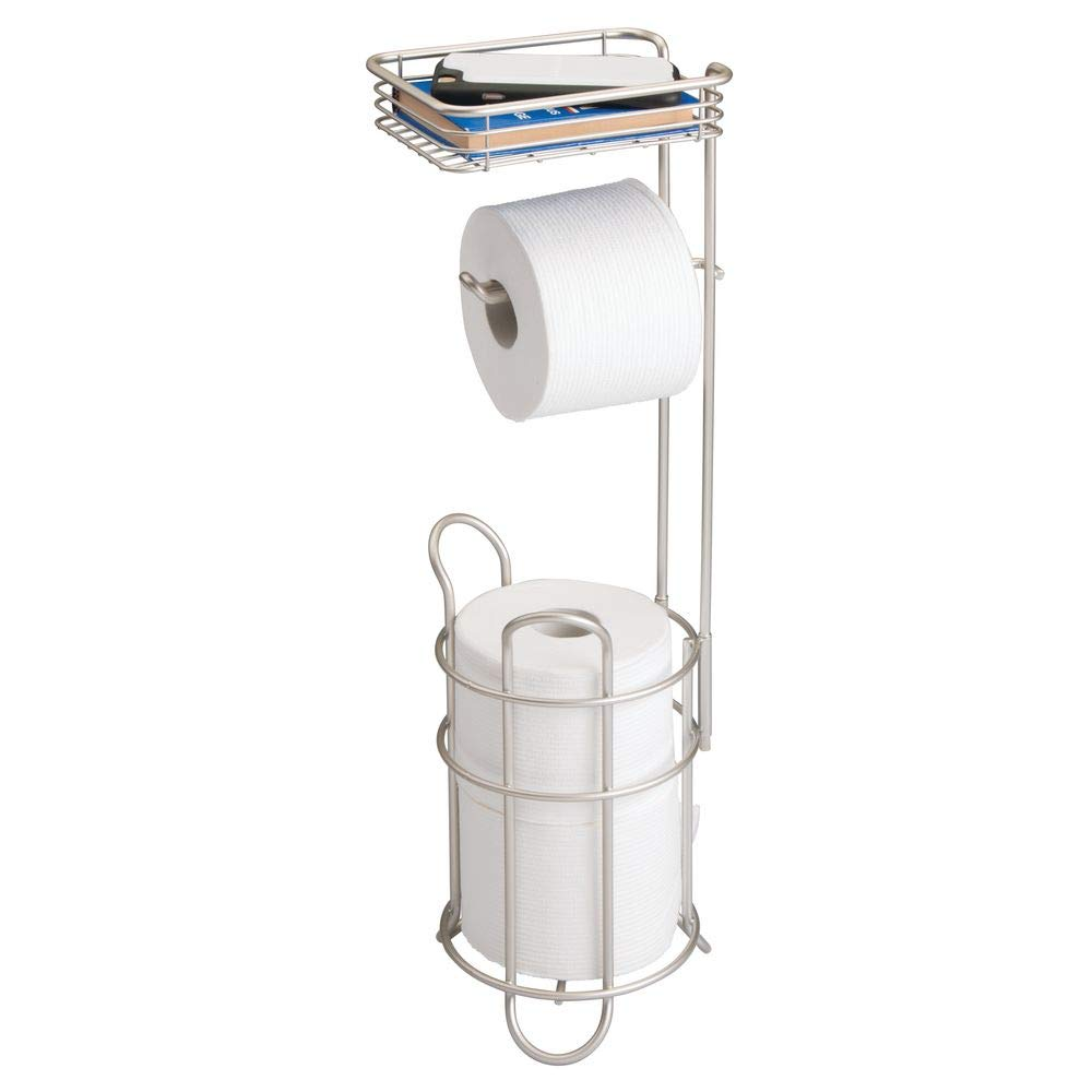 mDesign Freestanding Metal Wire Toilet Paper Roll Holder Stand and Dispenser with Storage Shelf for Cell, Mobile Phone - Bathroom Storage Organization - Holds 3 Mega Rolls - Satin