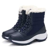 Athlefit Women's Winter Boots Waterproof Fur Lined Snow Boots Lace Up Ankle Heels