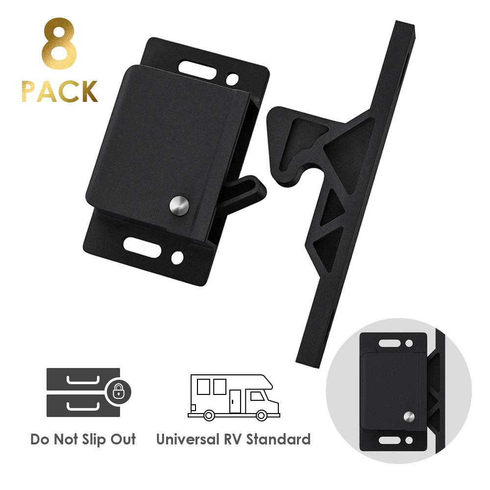 Cabinet Door Latch/ 8 Pack RV Drawer Latches 8 lbs Pull Force Cabinet Latch, Holder for Home/RV Cabinet Doors with Mounting Screws - Perfect for RV, Trailer, Motor Home, Camper, OEM Replacement
