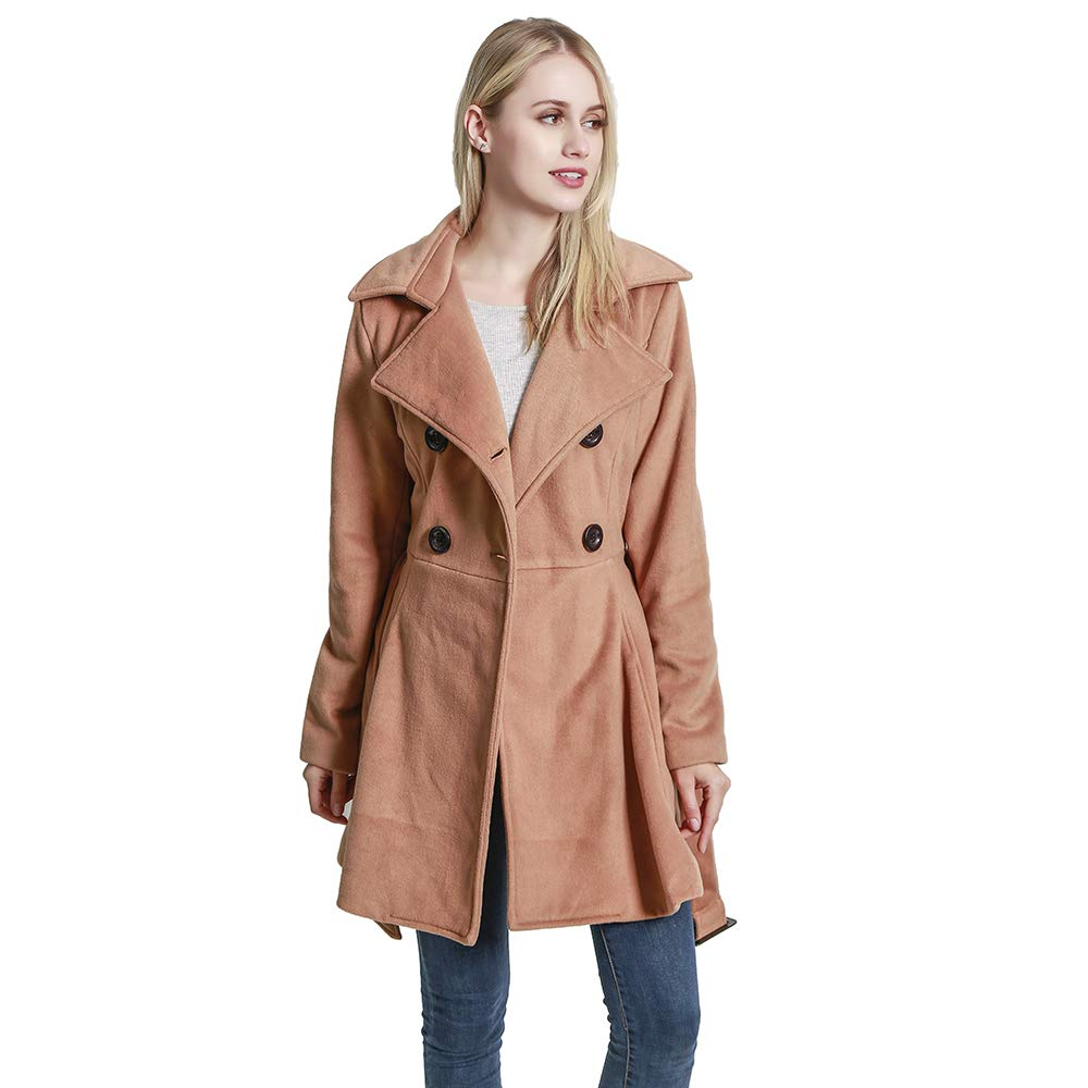 KENGURU COVE Women's Wool Coat Casual Double-Breasted Jacket with Belts Trench Outwear